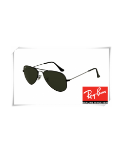 Ray Ban RB3044 Aviator Small Metal Sunglasses Black Frame Crystal Deep Green Lens