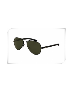 Ray Ban RB8307 Aviator Tech Sunglasses Carbon Fibre Black Frame Classic Green Lens