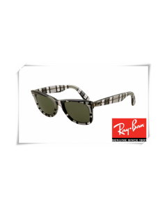 Ray Ban RB2140 Original Wayfarer Sunglasses Black White Grey Stripe Frame Green Lens