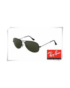 Ray Ban RB3362 Cockpit Sunglasses Shiny Black Frame Crystal Green Lens