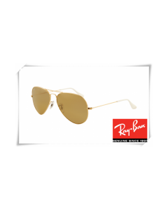 Ray Ban RB3025 Aviator Sunglasses Arista Frame Brown Silver Mirror Gradient Lens
