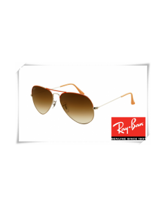 Ray Ban RB3025 Aviator Sunglasses Red Arista Frame Brown Gradient Lens