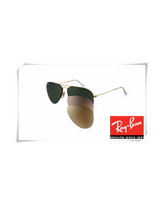 Ray Ban RB3460 Aviator Flip Out Sunglasses Arista Frame Grey Green Lens